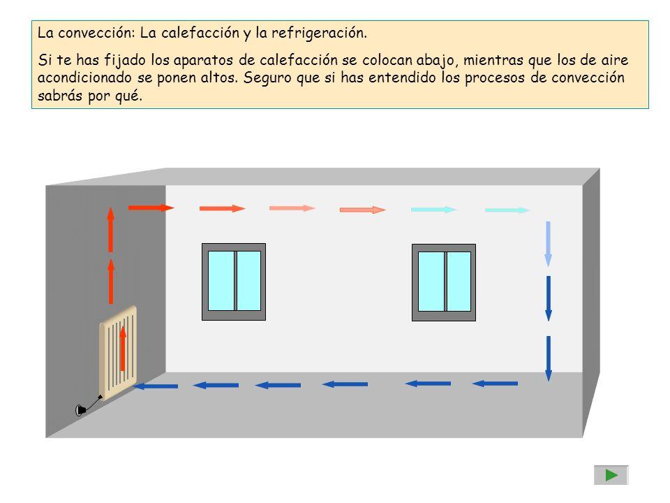 La convección: La calefacción y la refrigeración. Si te has fijado los aparatos de calefacción se colocan abajo, mientras que los de aire acondicionad