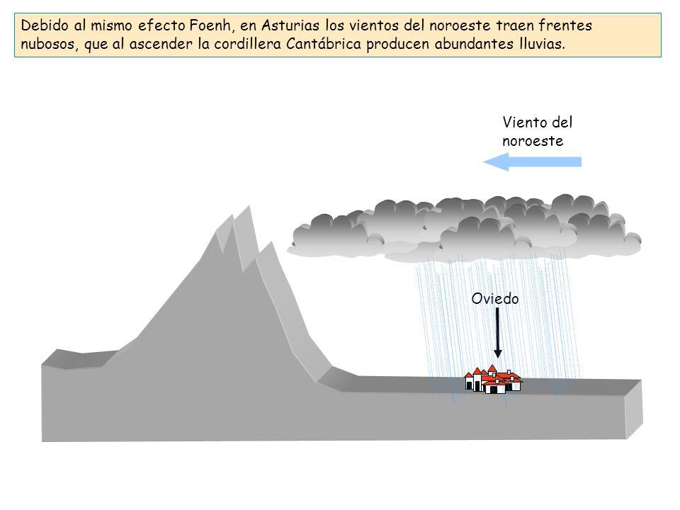 Debido al mismo efecto Foenh, en Asturias los vientos del noroeste traen frentes nubosos, que al ascender la cordillera Cantábrica producen abundantes