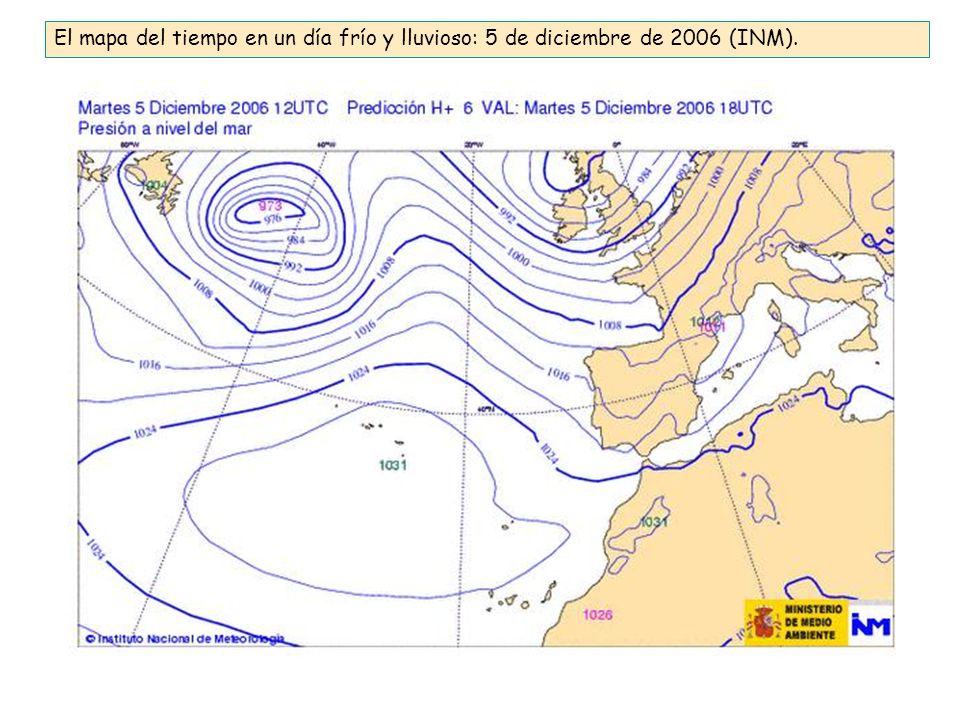 El mapa del tiempo en un día frío y lluvioso: 5 de diciembre de 2006 (INM).