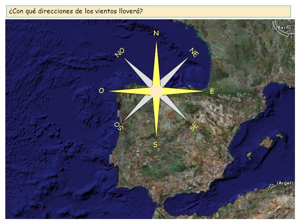 ¿Con qué direcciones de los vientos lloverá? N S E O SE SO NO NE
