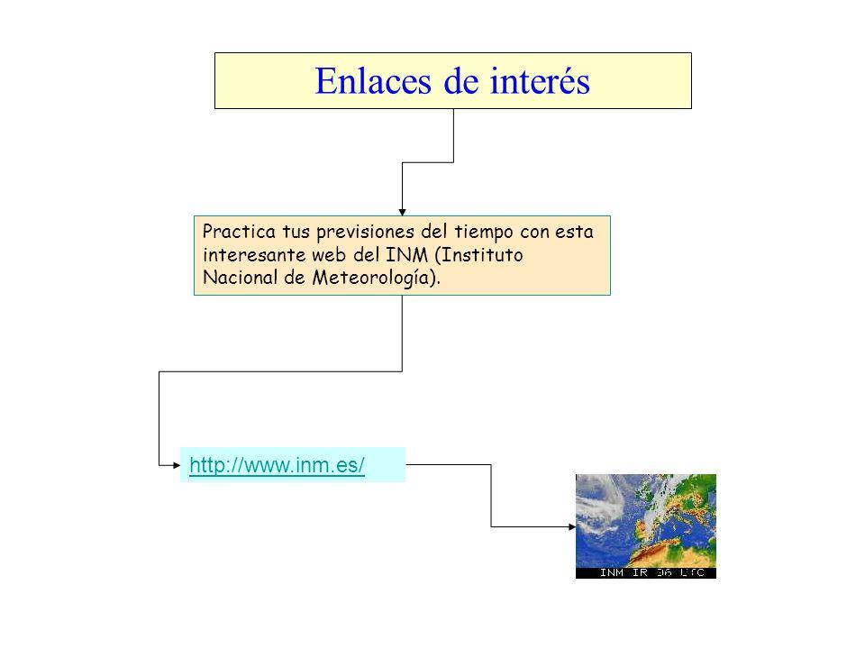 Enlaces de interés http://www.inm.es/ Practica tus previsiones del tiempo con esta interesante web del INM (Instituto Nacional de Meteorología).