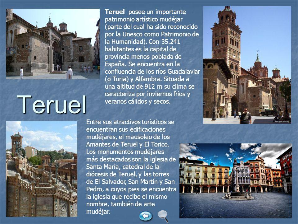 Teruel Teruel posee un importante patrimonio artístico mudéjar (parte del cual ha sido reconocido por la Unesco como Patrimonio de la Humanidad). Con
