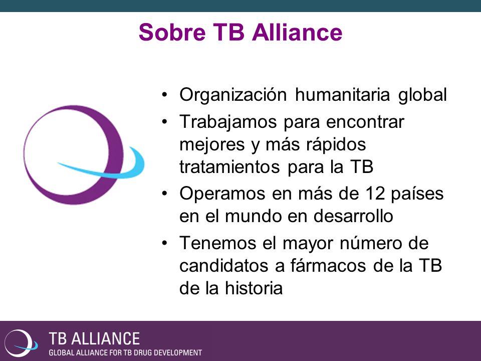 Sobre TB Alliance Organización humanitaria global Trabajamos para encontrar mejores y más rápidos tratamientos para la TB Operamos en más de 12 países en el mundo en desarrollo Tenemos el mayor número de candidatos a fármacos de la TB de la historia