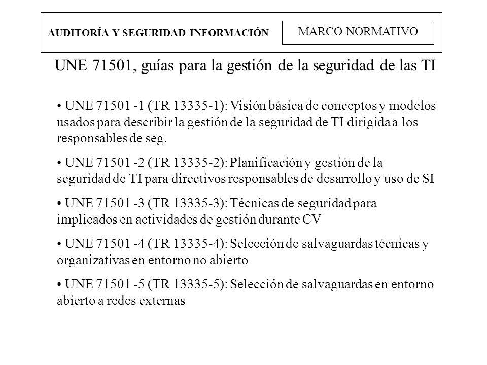 AUDITORÍA Y SEGURIDAD INFORMACIÓN MARCO NORMATIVO UNE 71501, guías para la gestión de la seguridad de las TI UNE 71501 -1 (TR 13335-1): Visión básica