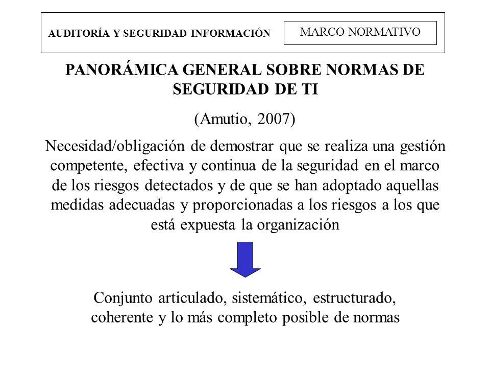 AUDITORÍA Y SEGURIDAD INFORMACIÓN MARCO NORMATIVO PANORÁMICA GENERAL SOBRE NORMAS DE SEGURIDAD DE TI (Amutio, 2007) Necesidad/obligación de demostrar