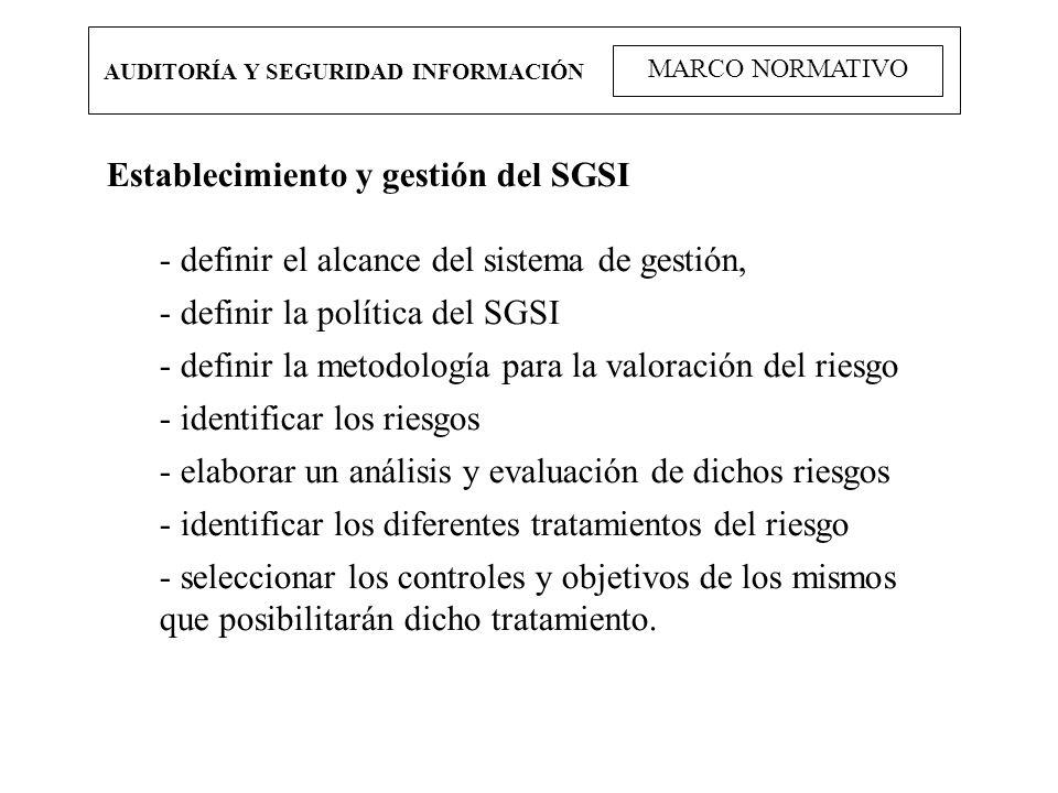 AUDITORÍA Y SEGURIDAD INFORMACIÓN MARCO NORMATIVO Establecimiento y gestión del SGSI - definir el alcance del sistema de gestión, - definir la polític
