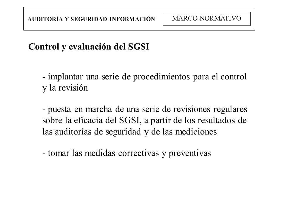 AUDITORÍA Y SEGURIDAD INFORMACIÓN MARCO NORMATIVO Control y evaluación del SGSI - implantar una serie de procedimientos para el control y la revisión
