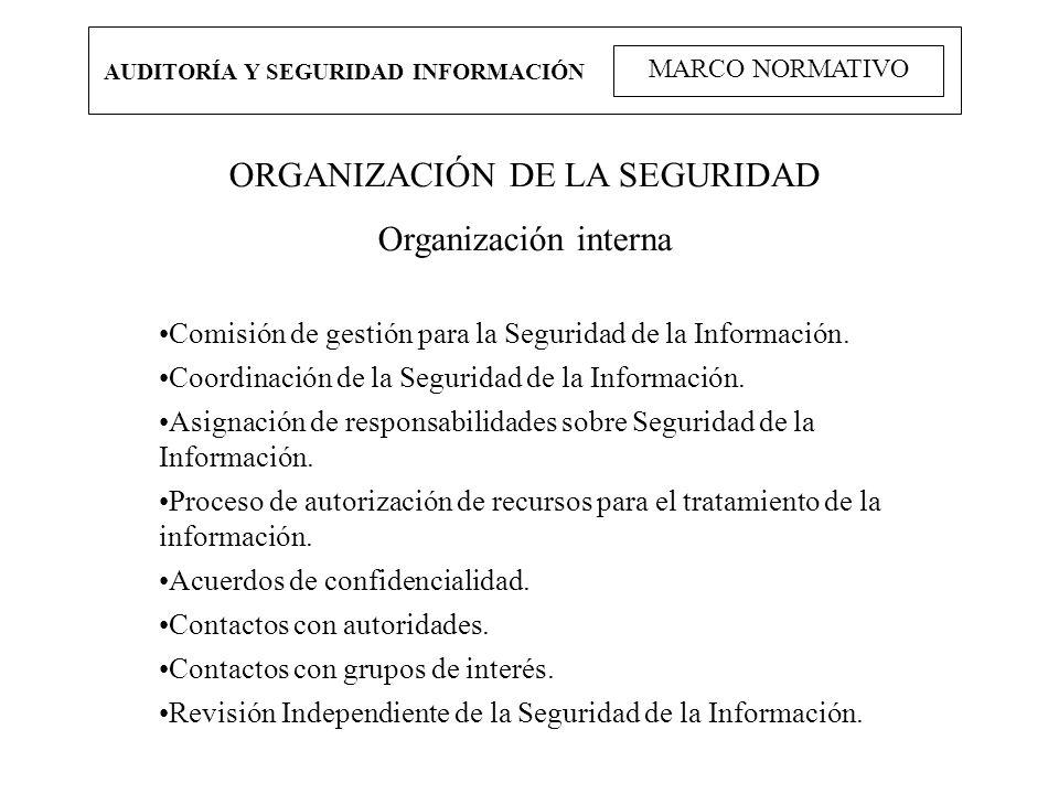 AUDITORÍA Y SEGURIDAD INFORMACIÓN MARCO NORMATIVO ORGANIZACIÓN DE LA SEGURIDAD Organización interna Comisión de gestión para la Seguridad de la Inform