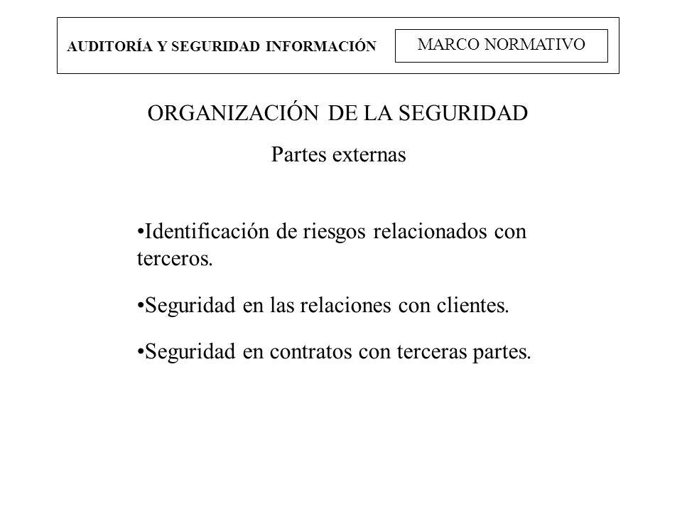 AUDITORÍA Y SEGURIDAD INFORMACIÓN MARCO NORMATIVO ORGANIZACIÓN DE LA SEGURIDAD Partes externas Identificación de riesgos relacionados con terceros. Se