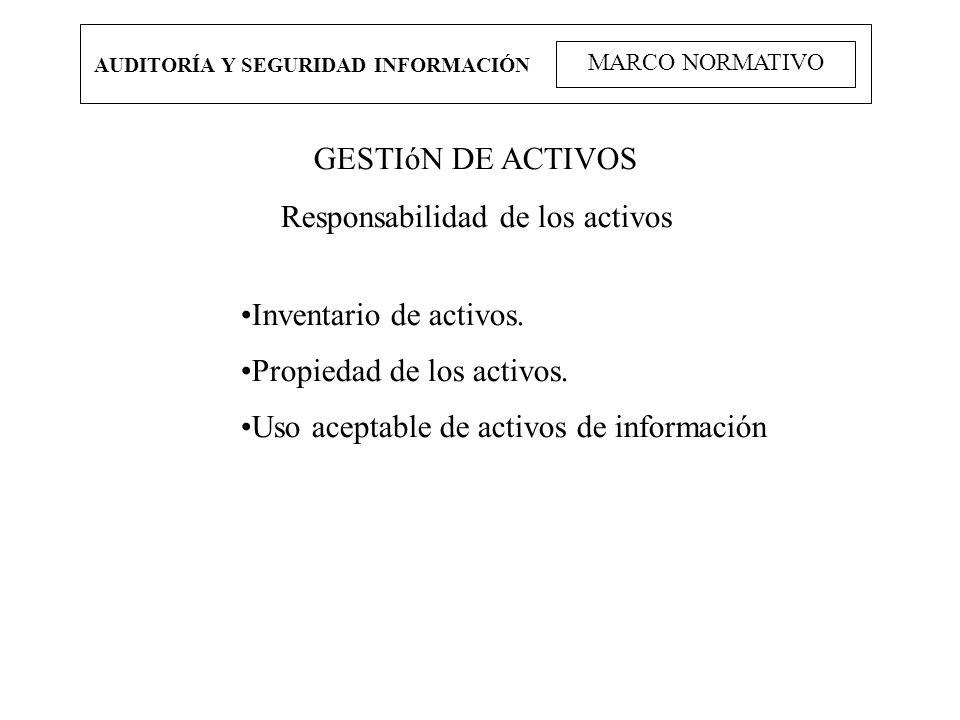 AUDITORÍA Y SEGURIDAD INFORMACIÓN MARCO NORMATIVO GESTIóN DE ACTIVOS Responsabilidad de los activos Inventario de activos. Propiedad de los activos. U