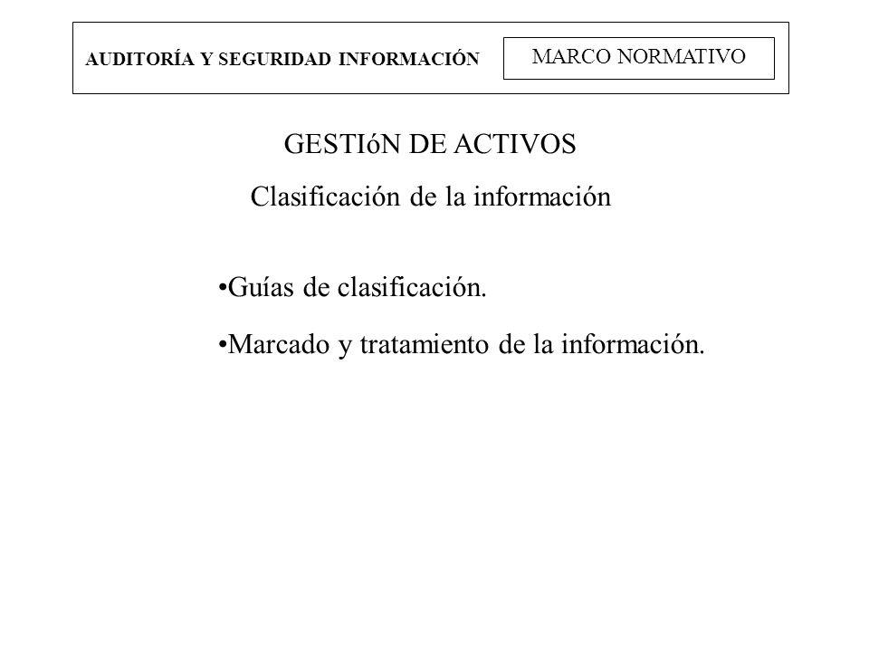 AUDITORÍA Y SEGURIDAD INFORMACIÓN MARCO NORMATIVO GESTIóN DE ACTIVOS Clasificación de la información Guías de clasificación. Marcado y tratamiento de