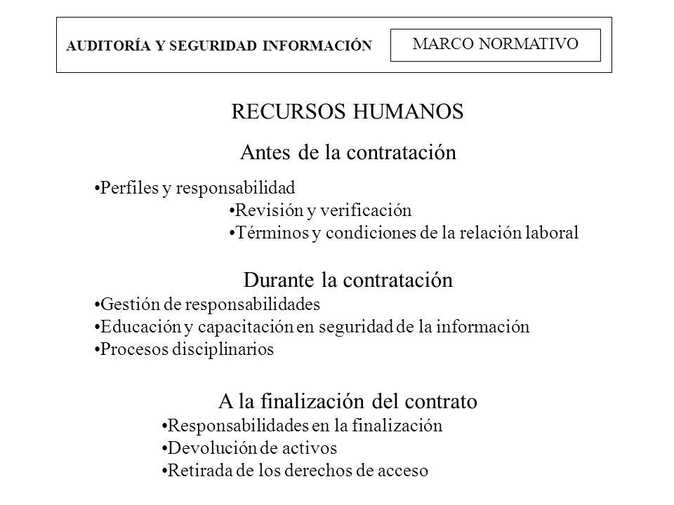 AUDITORÍA Y SEGURIDAD INFORMACIÓN MARCO NORMATIVO RECURSOS HUMANOS Antes de la contratación Perfiles y responsabilidad Revisión y verificación Término