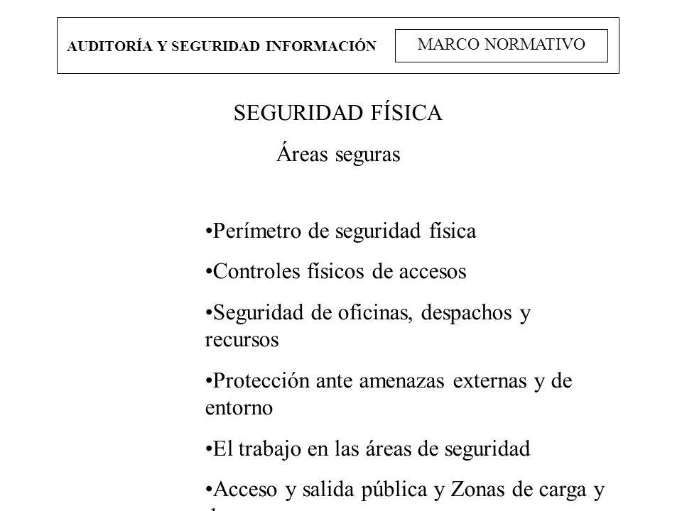 AUDITORÍA Y SEGURIDAD INFORMACIÓN MARCO NORMATIVO SEGURIDAD FÍSICA Áreas seguras Perímetro de seguridad física Controles físicos de accesos Seguridad