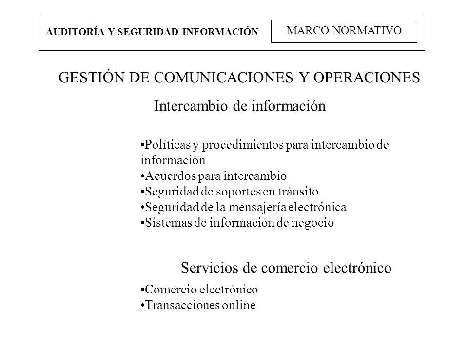 AUDITORÍA Y SEGURIDAD INFORMACIÓN MARCO NORMATIVO GESTIÓN DE COMUNICACIONES Y OPERACIONES Intercambio de información Políticas y procedimientos para i