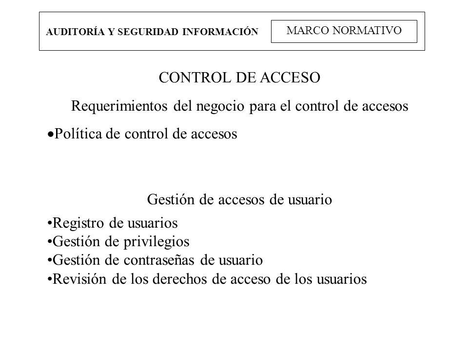 AUDITORÍA Y SEGURIDAD INFORMACIÓN MARCO NORMATIVO CONTROL DE ACCESO Requerimientos del negocio para el control de accesos Política de control de acces