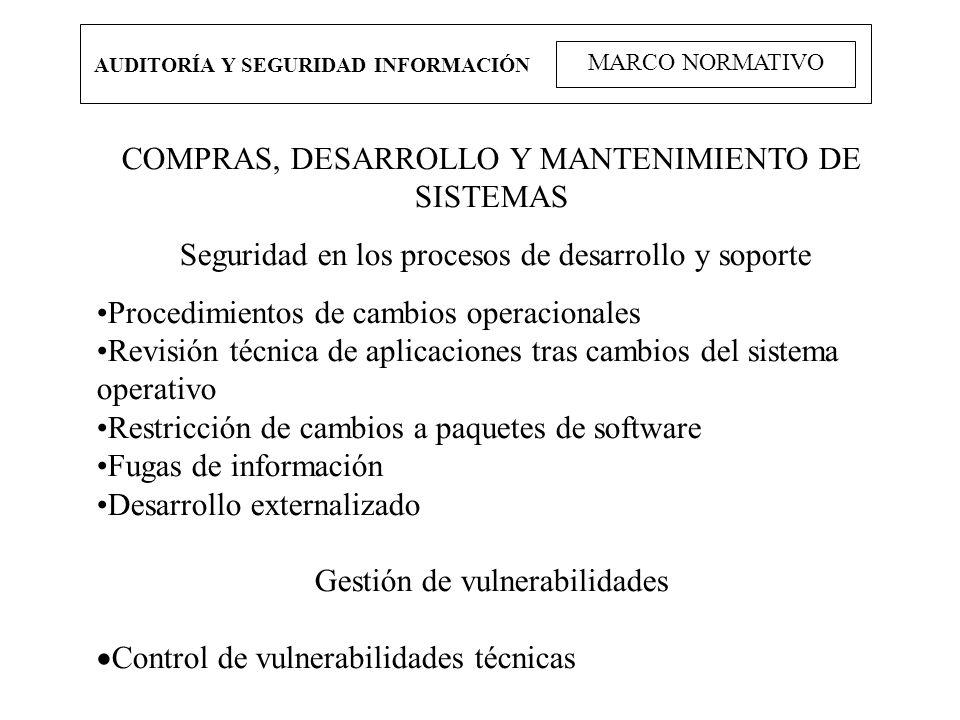 AUDITORÍA Y SEGURIDAD INFORMACIÓN MARCO NORMATIVO COMPRAS, DESARROLLO Y MANTENIMIENTO DE SISTEMAS Seguridad en los procesos de desarrollo y soporte Pr