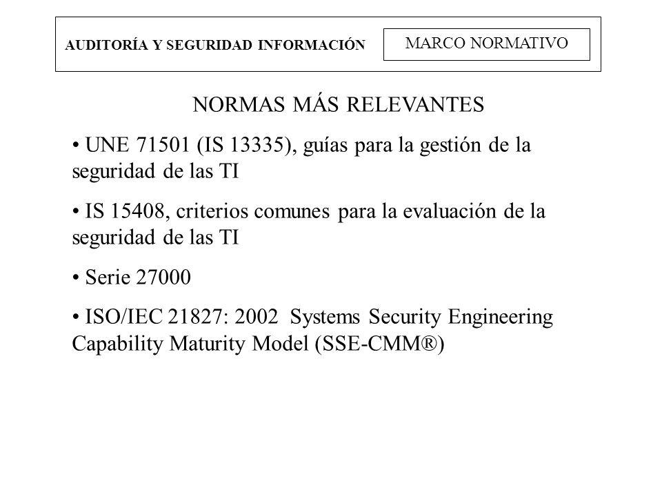 AUDITORÍA Y SEGURIDAD INFORMACIÓN MARCO NORMATIVO NORMAS MÁS RELEVANTES UNE 71501 (IS 13335), guías para la gestión de la seguridad de las TI IS 15408