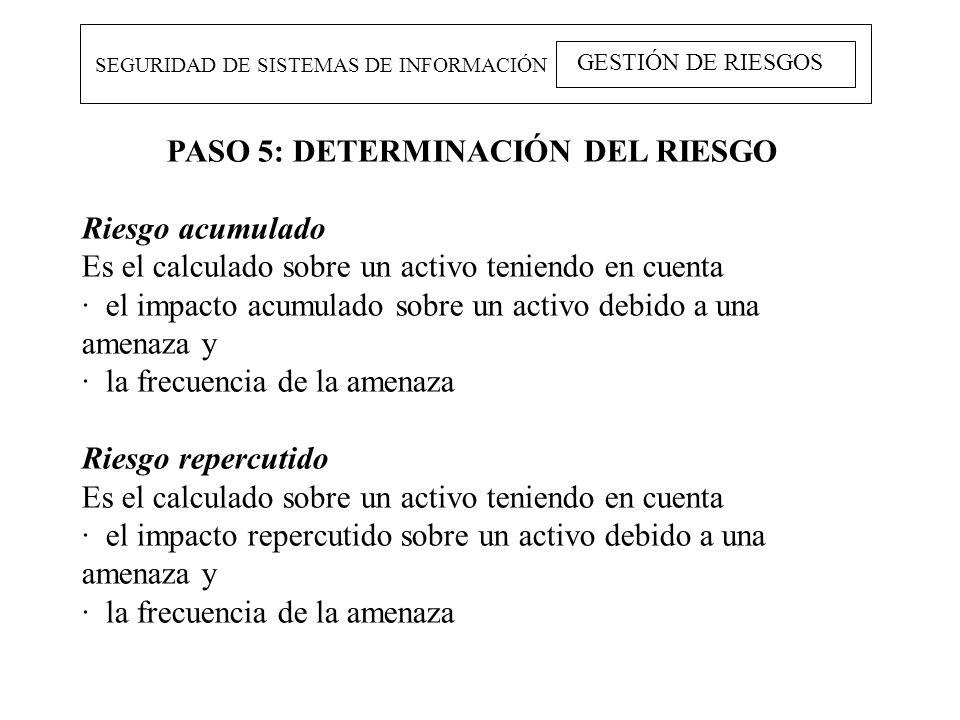 SEGURIDAD DE SISTEMAS DE INFORMACIÓN GESTIÓN DE RIESGOS PASO 5: DETERMINACIÓN DEL RIESGO Riesgo acumulado Es el calculado sobre un activo teniendo en