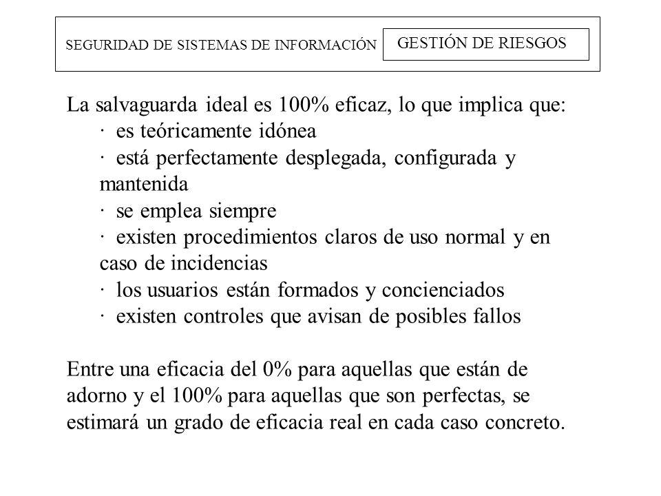 SEGURIDAD DE SISTEMAS DE INFORMACIÓN GESTIÓN DE RIESGOS La salvaguarda ideal es 100% eficaz, lo que implica que: · es teóricamente idónea · está perfe