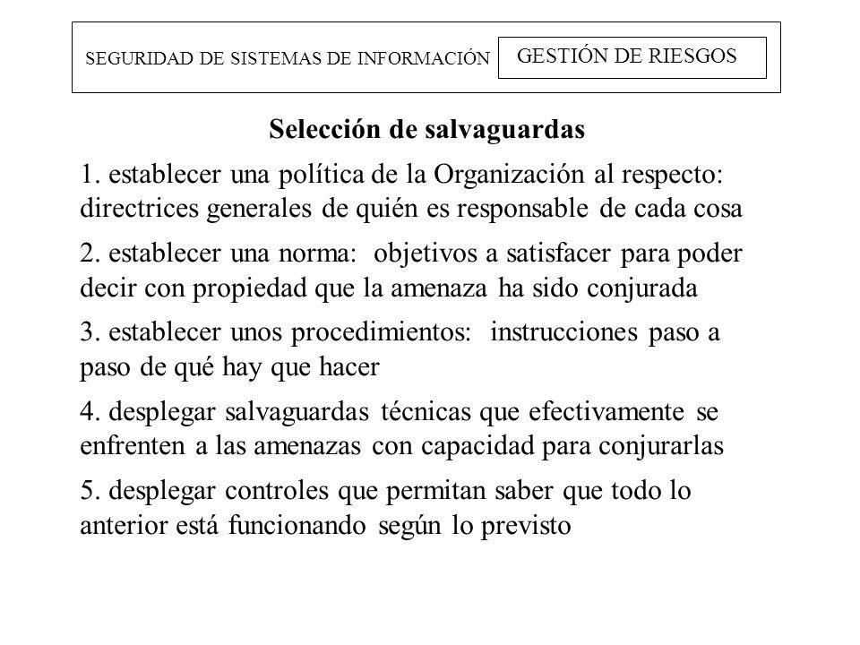 SEGURIDAD DE SISTEMAS DE INFORMACIÓN GESTIÓN DE RIESGOS Selección de salvaguardas 1. establecer una política de la Organización al respecto: directric