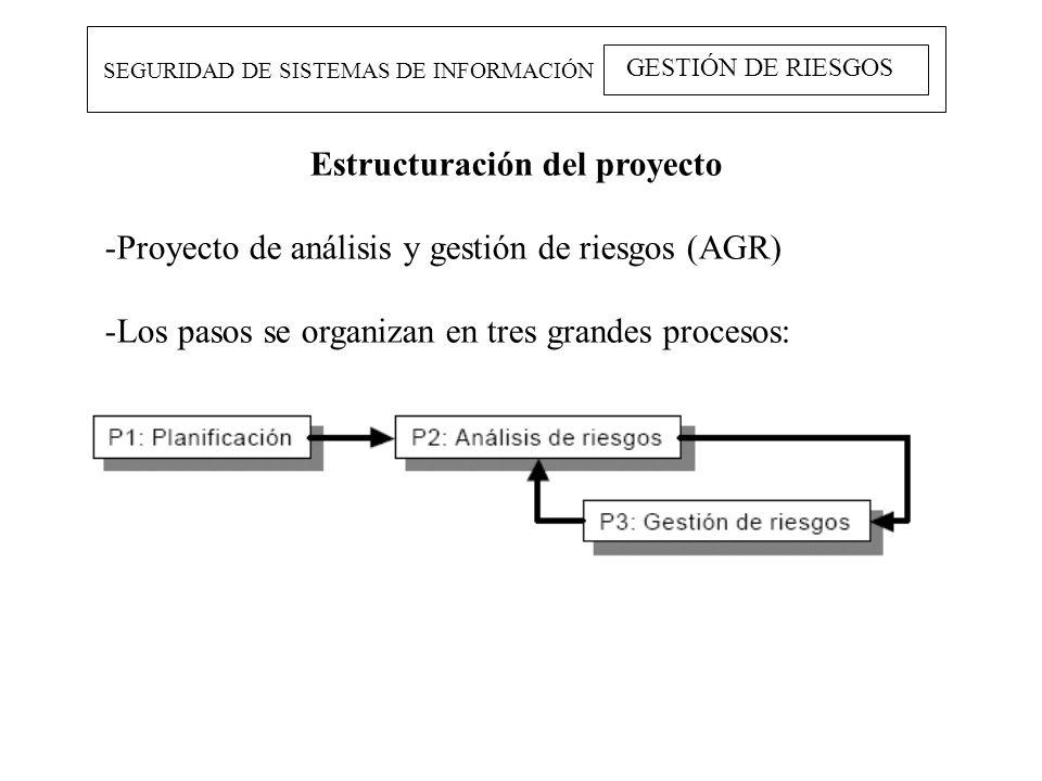 SEGURIDAD DE SISTEMAS DE INFORMACIÓN GESTIÓN DE RIESGOS Estructuración del proyecto -Proyecto de análisis y gestión de riesgos (AGR) -Los pasos se org