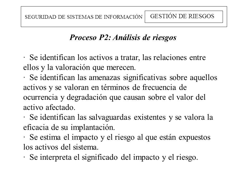 SEGURIDAD DE SISTEMAS DE INFORMACIÓN GESTIÓN DE RIESGOS Proceso P2: Análisis de riesgos · Se identifican los activos a tratar, las relaciones entre el