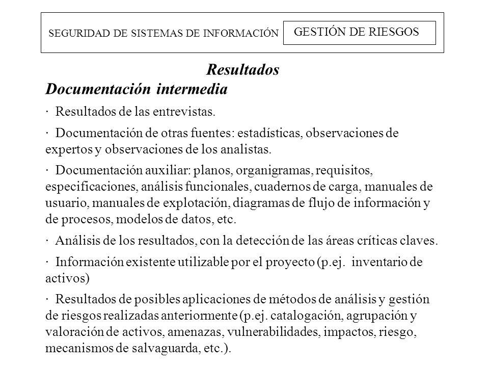 SEGURIDAD DE SISTEMAS DE INFORMACIÓN GESTIÓN DE RIESGOS Resultados Documentación intermedia · Resultados de las entrevistas. · Documentación de otras