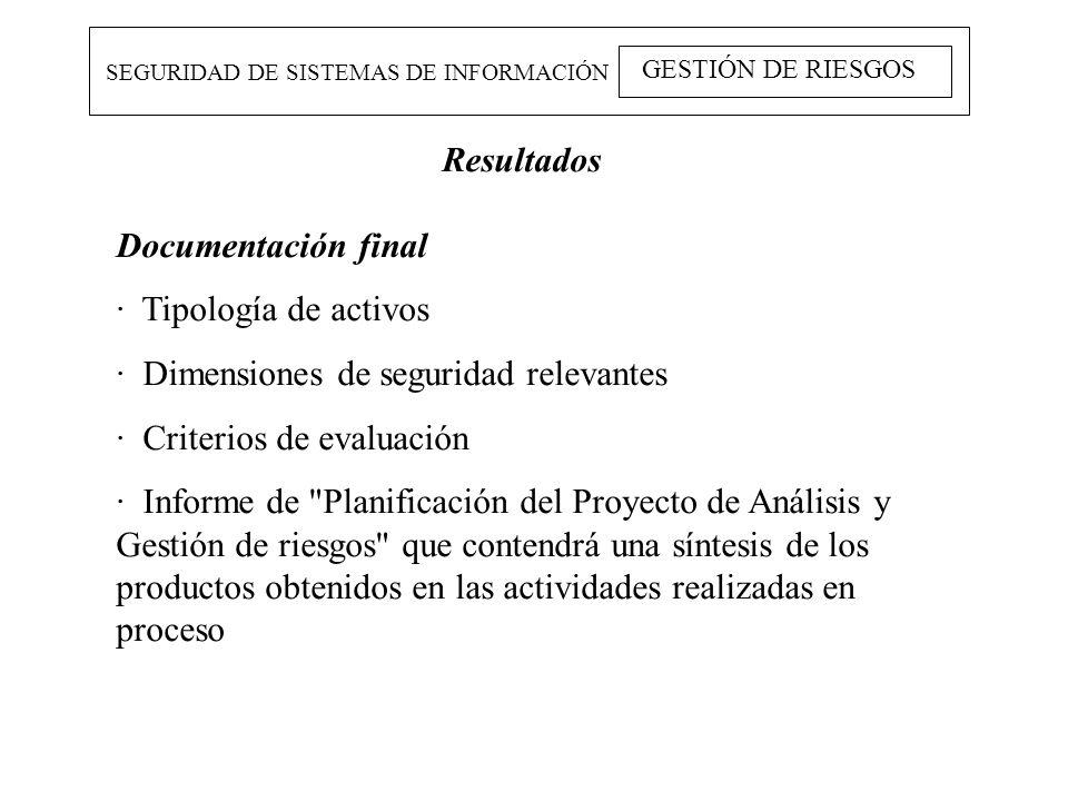 SEGURIDAD DE SISTEMAS DE INFORMACIÓN GESTIÓN DE RIESGOS Resultados Documentación final · Tipología de activos · Dimensiones de seguridad relevantes ·