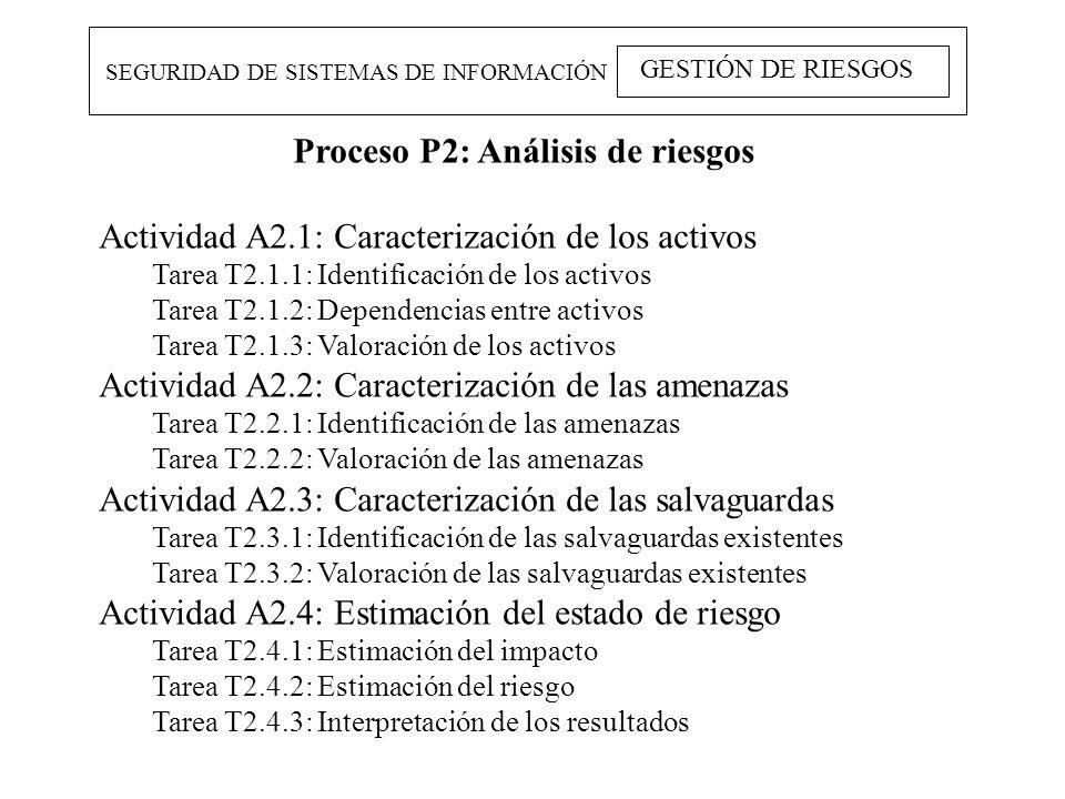 SEGURIDAD DE SISTEMAS DE INFORMACIÓN GESTIÓN DE RIESGOS Proceso P2: Análisis de riesgos Actividad A2.1: Caracterización de los activos Tarea T2.1.1: I