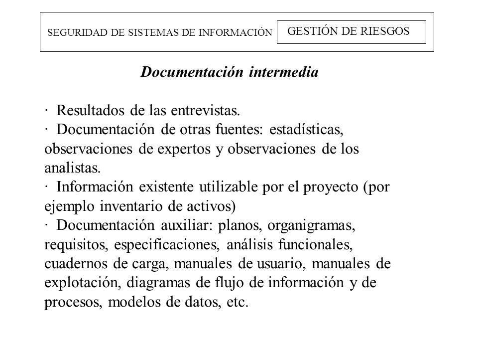 SEGURIDAD DE SISTEMAS DE INFORMACIÓN GESTIÓN DE RIESGOS Documentación intermedia · Resultados de las entrevistas. · Documentación de otras fuentes: es