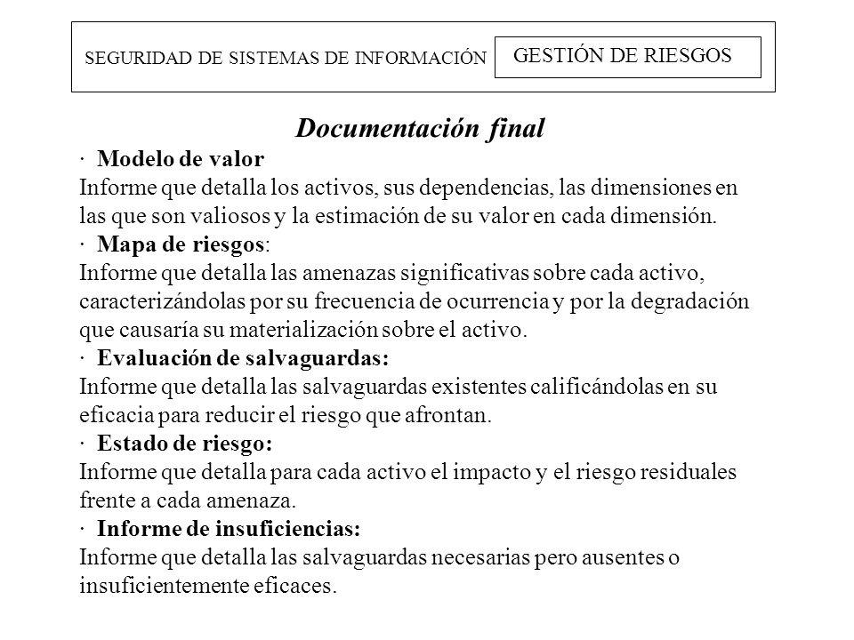 SEGURIDAD DE SISTEMAS DE INFORMACIÓN GESTIÓN DE RIESGOS Documentación final · Modelo de valor Informe que detalla los activos, sus dependencias, las d