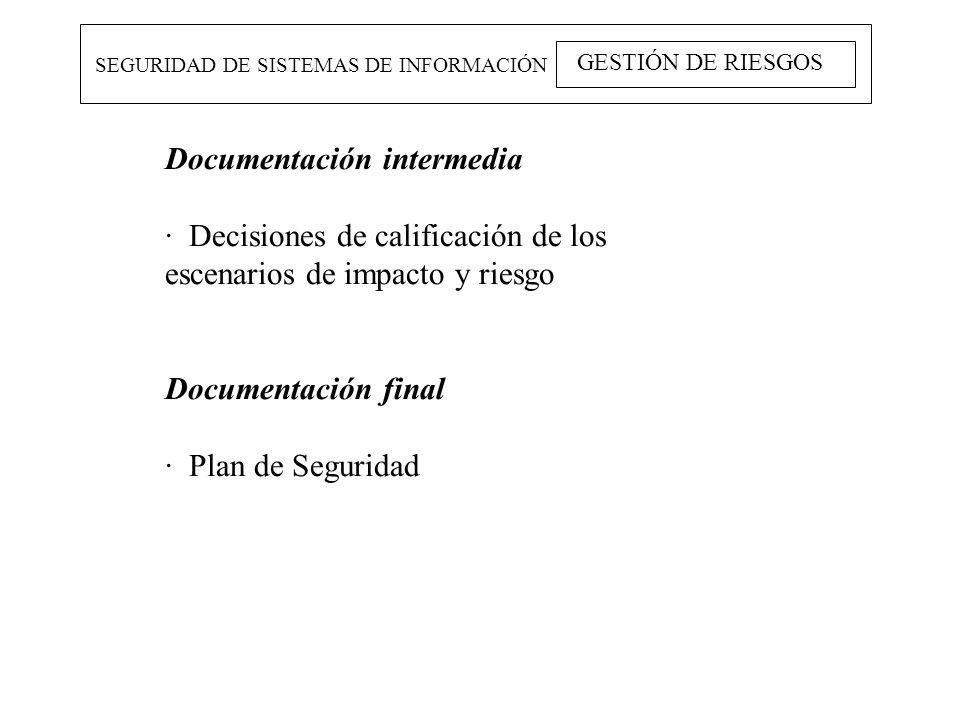 SEGURIDAD DE SISTEMAS DE INFORMACIÓN GESTIÓN DE RIESGOS Documentación intermedia · Decisiones de calificación de los escenarios de impacto y riesgo Do