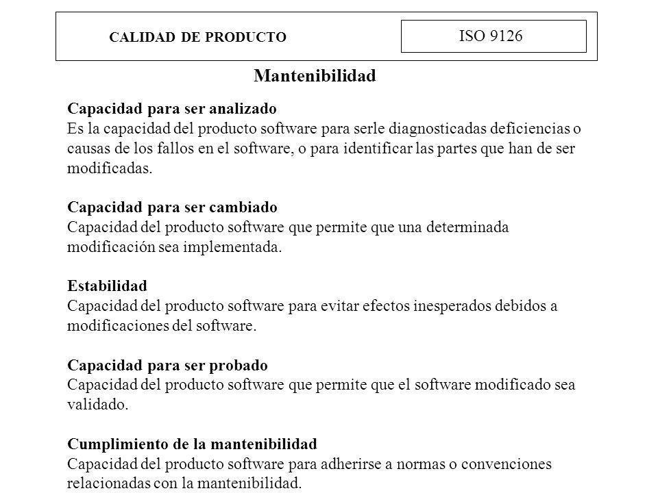 CALIDAD DE PRODUCTO ISO 9126 Mantenibilidad Capacidad para ser analizado Es la capacidad del producto software para serle diagnosticadas deficiencias