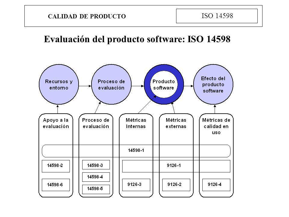 CALIDAD DE PRODUCTO ISO 14598 Evaluación del producto software: ISO 14598