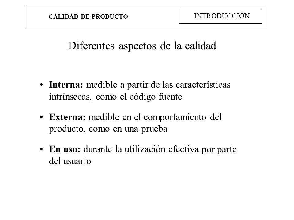 CALIDAD DE PRODUCTO INTRODUCCIÓN Diferentes aspectos de la calidad Interna: medible a partir de las características intrínsecas, como el código fuente
