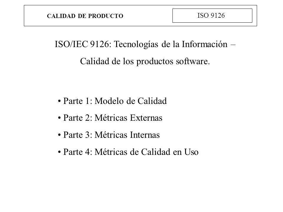 CALIDAD DE PRODUCTO ISO 9126 Ejemplos de uso: Validar la compleción de una definición de requisitos Identificar requisitos software Identificar objetivos para el diseño software Identificar requisitos para las pruebas del software Identificar requisitos para el aseguramiento de la calidad Identificar criterios de aceptación para un producto software terminado