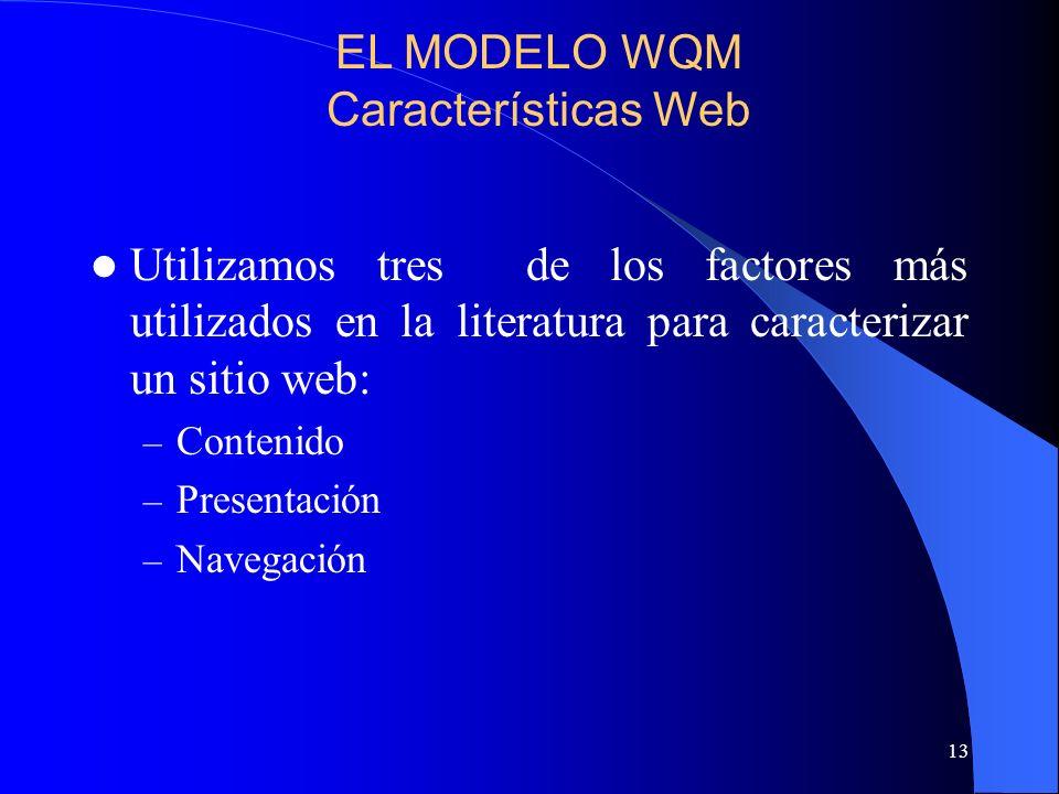 13 Utilizamos tres de los factores más utilizados en la literatura para caracterizar un sitio web: – Contenido – Presentación – Navegación EL MODELO W