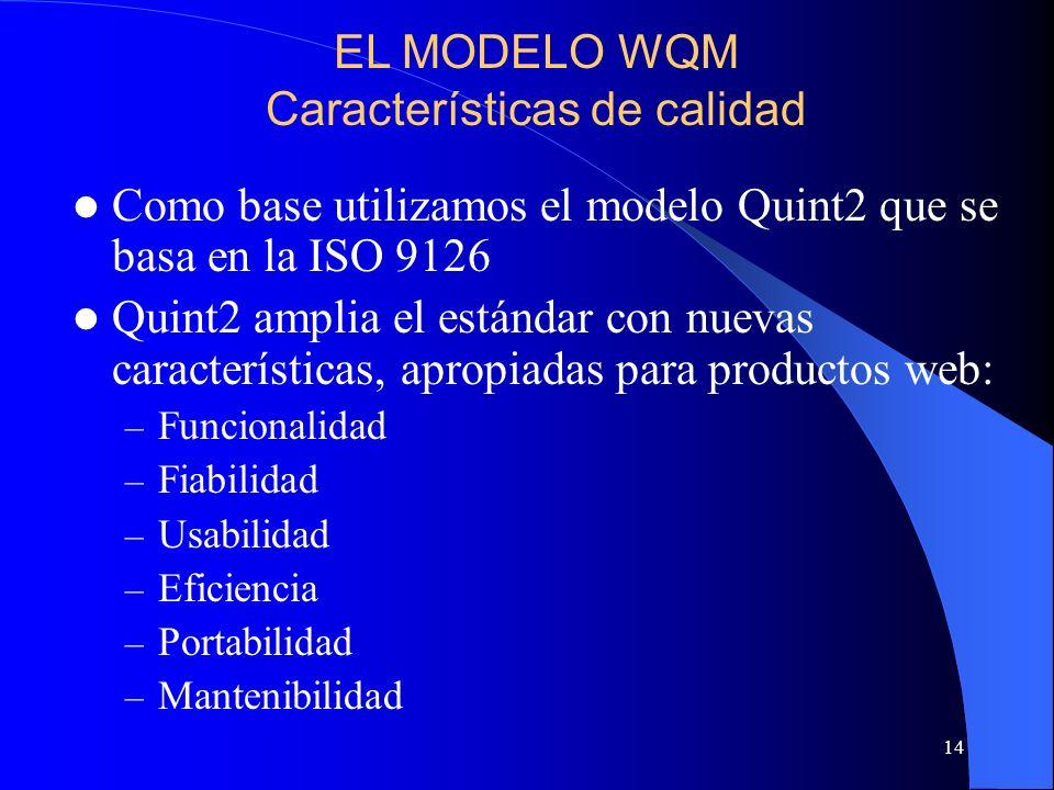 14 Como base utilizamos el modelo Quint2 que se basa en la ISO 9126 Quint2 amplia el estándar con nuevas características, apropiadas para productos we