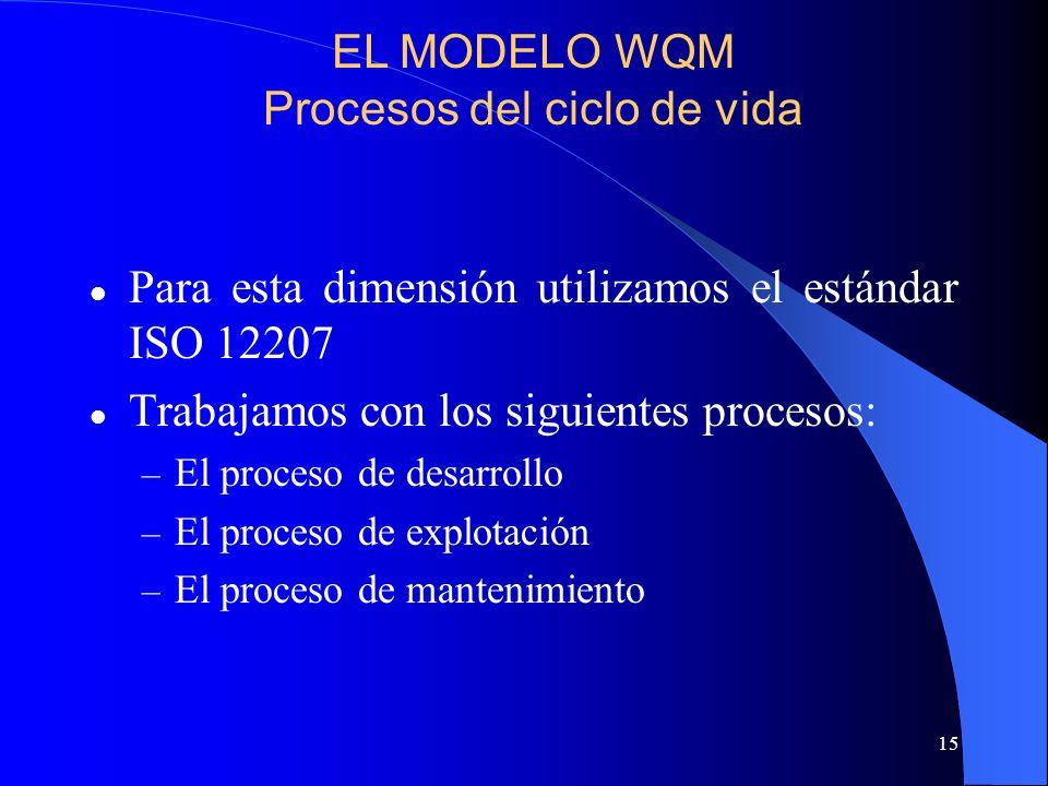 15 Para esta dimensión utilizamos el estándar ISO 12207 Trabajamos con los siguientes procesos: – El proceso de desarrollo – El proceso de explotación