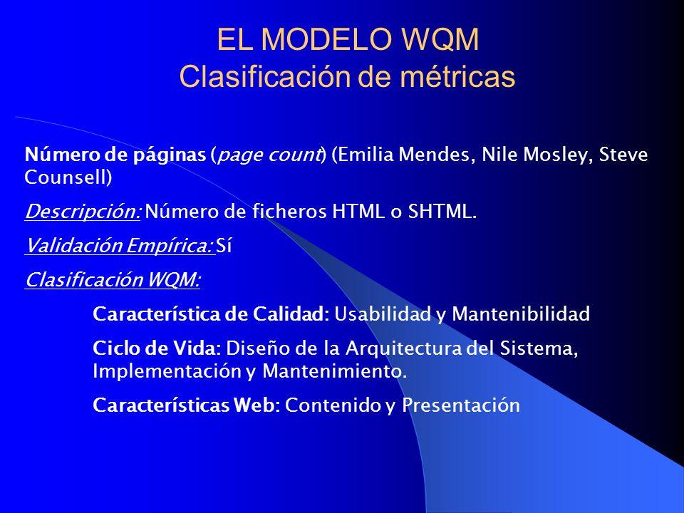 Número de páginas (page count) (Emilia Mendes, Nile Mosley, Steve Counsell) Descripción: Número de ficheros HTML o SHTML. Validación Empírica: Sí Clas