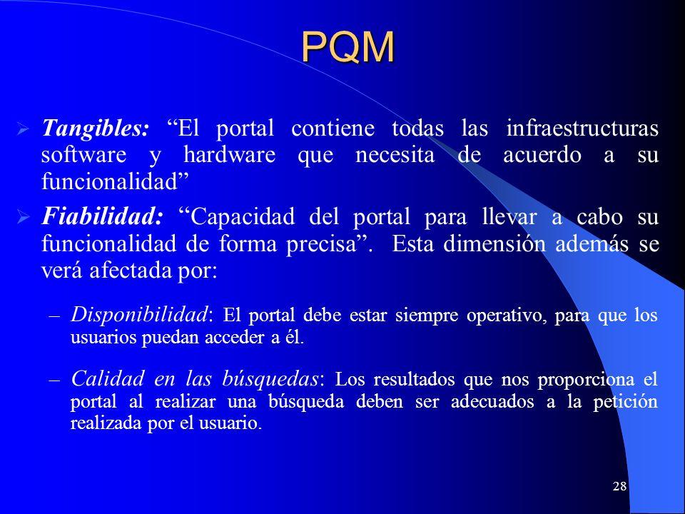28 Tangibles: El portal contiene todas las infraestructuras software y hardware que necesita de acuerdo a su funcionalidad Fiabilidad: Capacidad del p