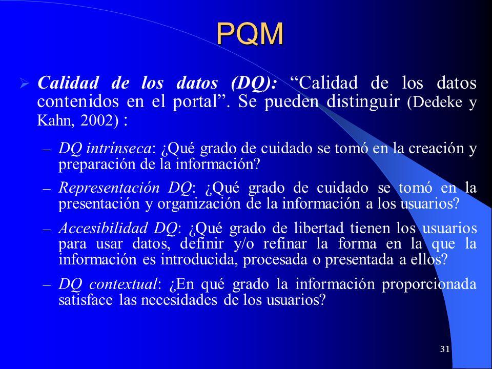 31 Calidad de los datos (DQ): Calidad de los datos contenidos en el portal. Se pueden distinguir (Dedeke y Kahn, 2002) : – DQ intrínseca: ¿Qué grado d