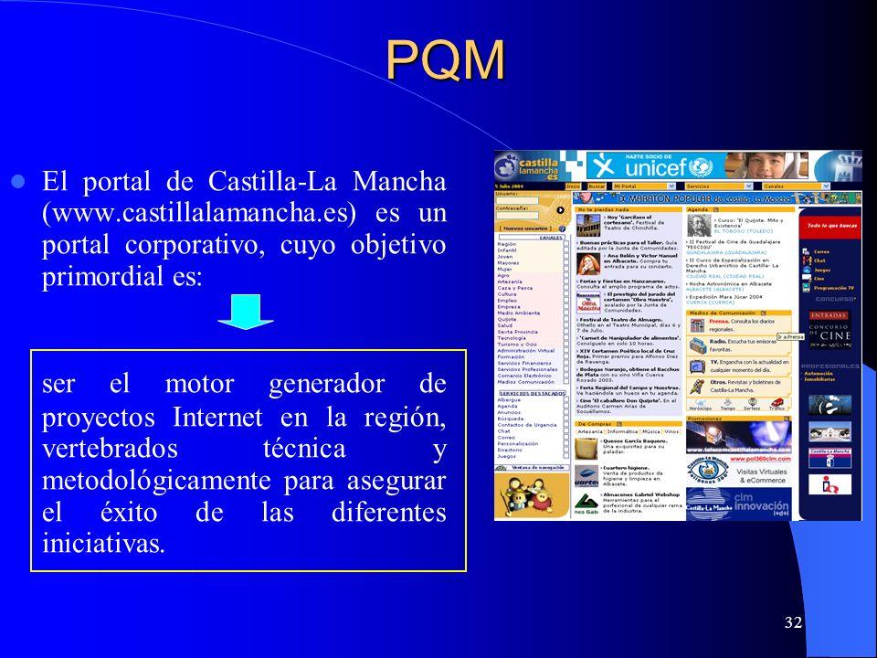 32 El portal de Castilla-La Mancha (www.castillalamancha.es) es un portal corporativo, cuyo objetivo primordial es: ser el motor generador de proyecto