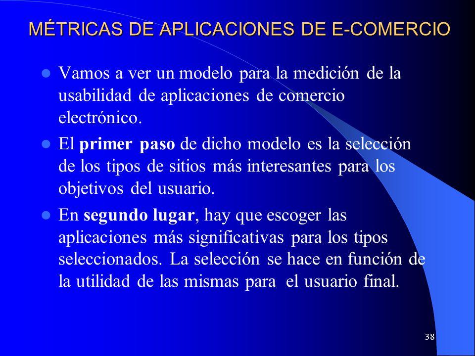 38 MÉTRICAS DE APLICACIONES DE E-COMERCIO Vamos a ver un modelo para la medición de la usabilidad de aplicaciones de comercio electrónico. El primer p