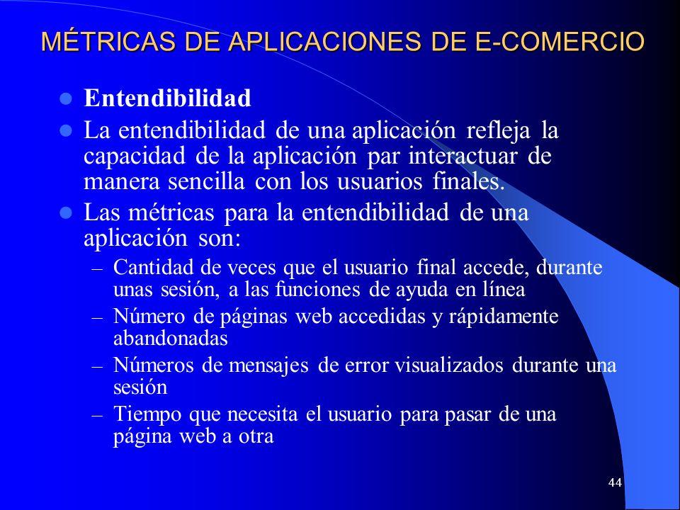 44 MÉTRICAS DE APLICACIONES DE E-COMERCIO Entendibilidad La entendibilidad de una aplicación refleja la capacidad de la aplicación par interactuar de