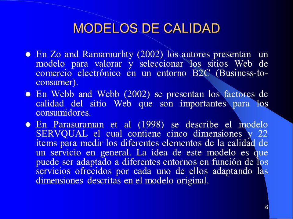 6 MODELOS DE CALIDAD En Zo and Ramamurhty (2002) los autores presentan un modelo para valorar y seleccionar los sitios Web de comercio electrónico en