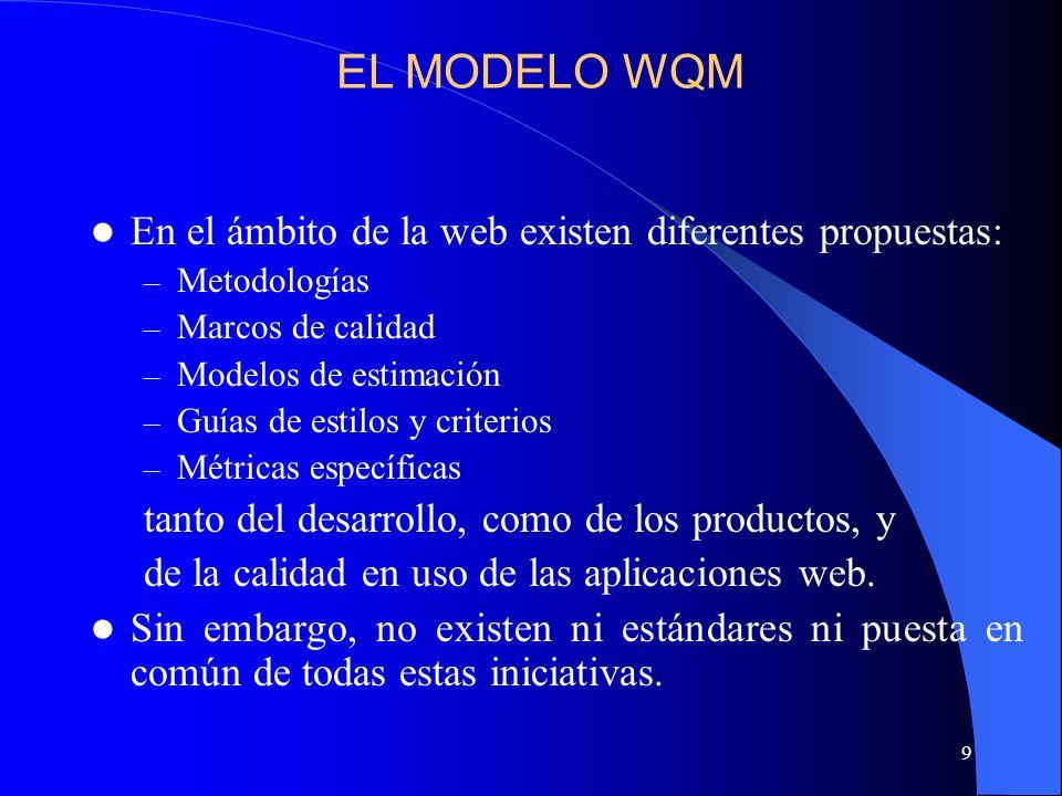 9 En el ámbito de la web existen diferentes propuestas: – Metodologías – Marcos de calidad – Modelos de estimación – Guías de estilos y criterios – Mé