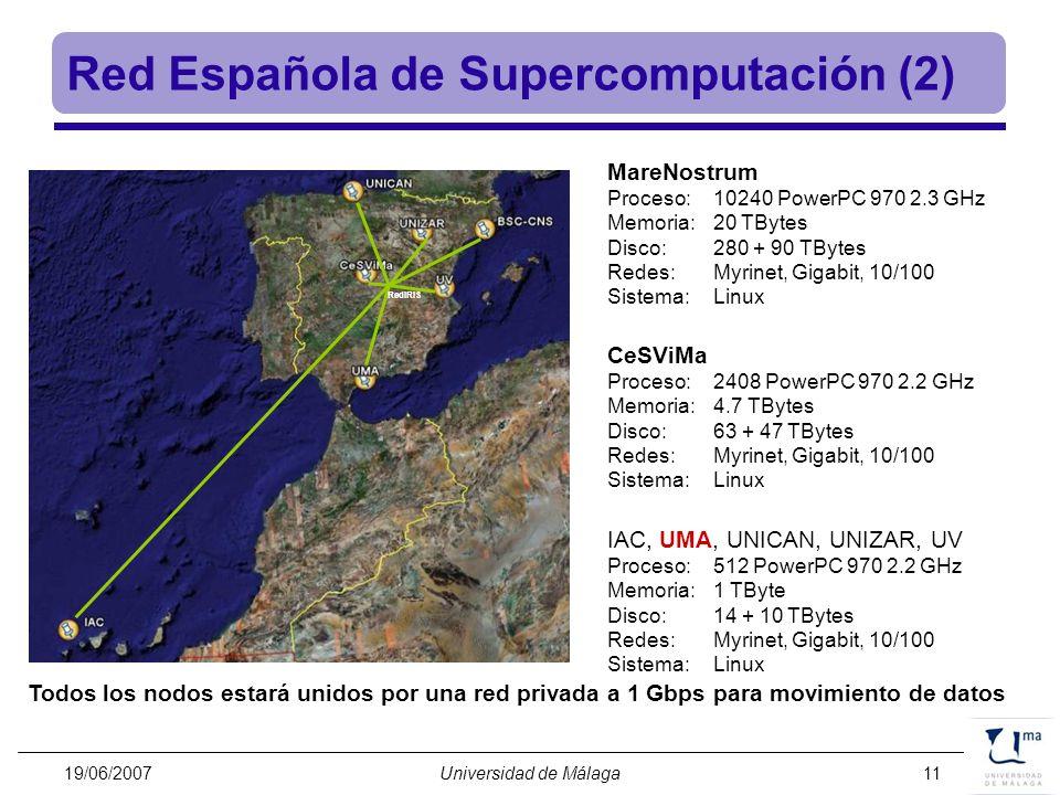 19/06/2007Universidad de Málaga11 Red Española de Supercomputación (2) MareNostrum Proceso:10240 PowerPC 970 2.3 GHz Memoria:20 TBytes Disco:280 + 90