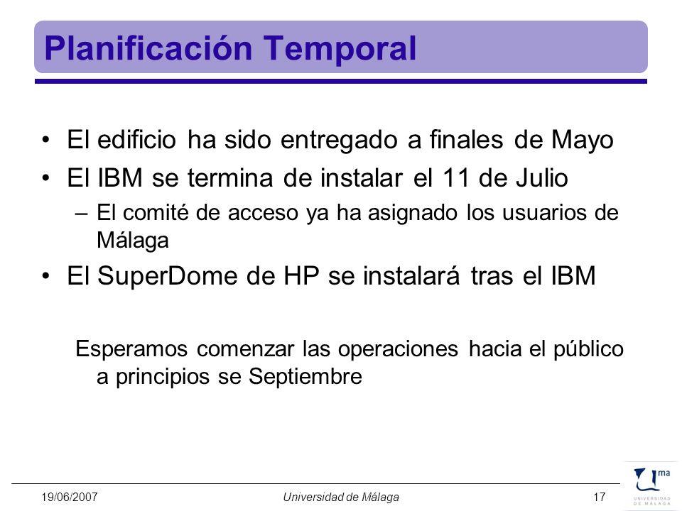 19/06/2007Universidad de Málaga17 Planificación Temporal El edificio ha sido entregado a finales de Mayo El IBM se termina de instalar el 11 de Julio