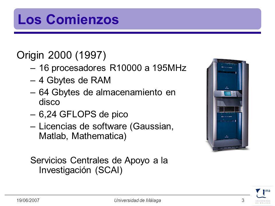 19/06/2007Universidad de Málaga3 Los Comienzos Origin 2000 (1997) –16 procesadores R10000 a 195MHz –4 Gbytes de RAM –64 Gbytes de almacenamiento en di